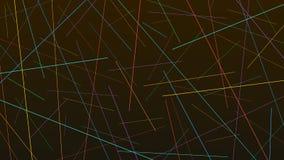 在黑背景的五颜六色的任意混乱线纹理 免版税库存照片