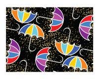 在黑背景的五颜六色的伞 库存例证