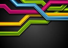 在黑背景的五颜六色的抽象技术条纹 库存例证