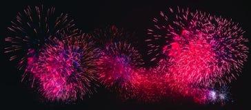 在黑背景的五颜六色的烟花爆炸 免版税库存照片