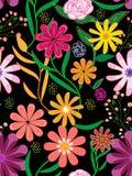在黑背景的五颜六色的花卉无缝的样式瓦片 向量例证