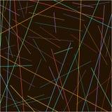 在黑背景的任意混乱五颜六色的线纹理 库存照片