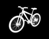 在黑背景的传染媒介白色自行车 免版税库存图片