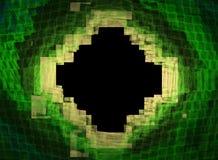 在黑背景的分数维黄绿菱形 免版税图库摄影