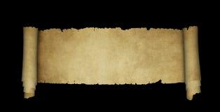 在黑背景的古色古香的羊皮纸纸卷 库存照片