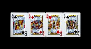 在黑背景的啤牌卡片 库存图片
