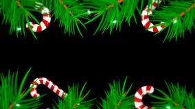 在黑背景的圣诞节框架 与早午餐树、candys和光的抽象背景 免版税图库摄影