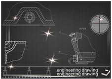 在黑背景的建造机器的图画 库存照片