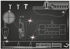 在黑背景的建造机器的图画 库存图片
