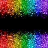 在黑背景的彩虹闪烁 向量 库存例证
