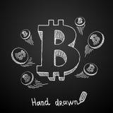 在黑背景的手拉的数字式货币 10个背景设计eps技术向量 免版税库存照片