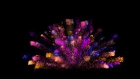 在黑背景的抽象五颜六色的尘末爆炸 向量例证