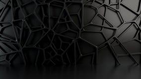 在黑背景的抽象3d花格 图库摄影