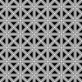 在黑背景的无缝的包裹的白色对角方形的网格线样式 库存例证