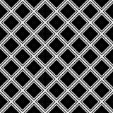 在黑背景的无缝的白色对角方形的网格线样式 向量例证