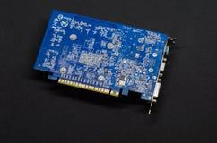 在黑背景的显示卡,个人计算机硬件 免版税图库摄影