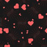 在黑背景的浪漫花卉无缝的样式 情人节与我爱你文本和心脏的传染媒介样式 免版税库存图片