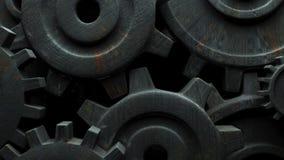 在黑背景的生锈的齿轮 股票视频