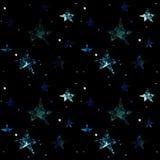 在黑背景的空间无缝的样式与星,行星,星系 库存例证