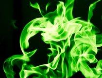 在黑背景的绿灯 图库摄影