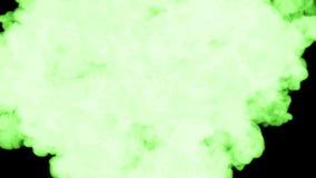 在黑背景的绿色萤光墨水在水中溶化 美好的作用在计算机上塑造了 3d回报与 影视素材