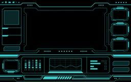 在黑背景的蓝色控制板摘要技术接口hud 向量例证