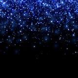 在黑背景的蓝色落的微粒 向量 库存照片