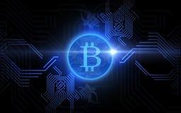 在黑背景的蓝色bitcoin投射 免版税图库摄影