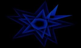 在黑背景的被隔绝的抽象蓝星 免版税库存图片