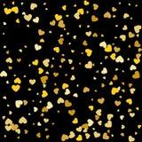 在黑背景的金落的心脏 也corel凹道例证向量 图库摄影