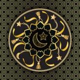 在黑背景的阿拉伯金黄豪华无缝的样式 向量例证