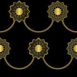 在黑背景的阿拉伯金黄豪华无缝的样式 皇族释放例证