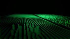 在黑背景的音响,抽象绿色波浪 变换成小波浪的平直的容量线 向量例证
