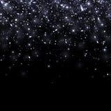 在黑背景的黑落的微粒 向量 库存照片