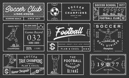 在黑背景足球徽章集合第2的白色 库存照片