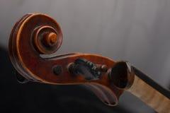 在黑背景隔绝的小提琴关闭 免版税库存照片