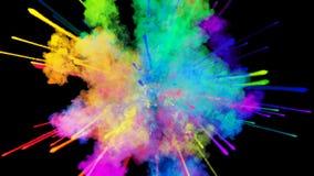在黑背景隔绝的粉末爆炸 3d微粒的动画作为五颜六色的背景或覆盖物作用的 股票视频