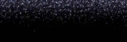 在黑背景,宽横幅的黑落的微粒 向量 免版税图库摄影