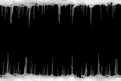 在黑背景,文本的,设计的模板空间的冰柱 库存照片