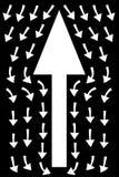 在黑背景,配合概念,企业方向的白色箭头 向量例证