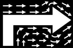 在黑背景,配合概念,企业方向的白色箭头 库存例证
