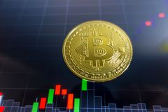 在黑膝上型计算机屏幕上的金黄Bitcoin有证券交易所图表的 免版税库存照片