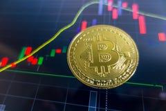 在黑膝上型计算机屏幕上的金黄Bitcoin有证券交易所图表的 图库摄影
