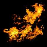 在黑色后面的高分辨率火焰 免版税库存照片