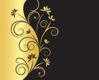 在黑色和金子颜色的花卉背景 库存图片