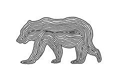 在黑色垂距线的一个熊例证象 指纹样式 皇族释放例证