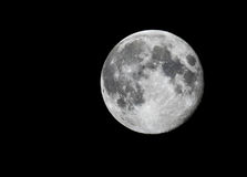 在黑色天空的满月 免版税库存照片
