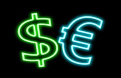 在黑色对欧洲$ â '¬财务霓虹灯广告焕发隔绝的美元 免版税库存图片