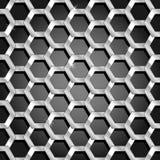 在黑色梯度的无缝的蜂窝模式 免版税库存照片