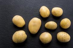 在黑色的新鲜的被洗涤的土豆 免版税库存照片